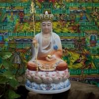 Tượng Địa Tạng Bồ Tát Đá Vẽ Màu Cao 30cm1