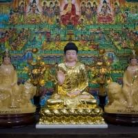 Tượng Hoa Nghiêm Tam Thánh Đá Thạch Anh Dát Vàng - 16inch1
