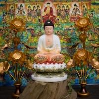 Tượng Phật A Di Đà Phật Áo Vẽ Màu Khoáng Gấm Viền Vàng Đài Sen 40cm1