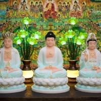 Tượng Ta Bà Tam Thánh Màu Xanh Thiên Thanh 40cm2