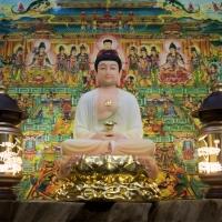 Tượng A Di Đà Phật Đá Thạch Ngọc Đài Sen Dát Vàng Cao 40cm1 (1)