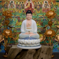 Tượng Phật A Di Đà Đá Khoán Áo Trắng Xanh Lam 48cm6
