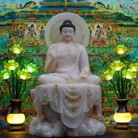 Tượng Phật A Di Đà Đá Thạch Anh Hồng Ngồi Bệ Đá Viền Vàng 75cm1
