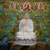 Tượng Địa Tạng Bồ Tát bột đá khoáng màu Trắng 40cm1