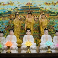 Tượng Thất Phật Dược Sư Bột Đá Trắng Ngồi 40cm11